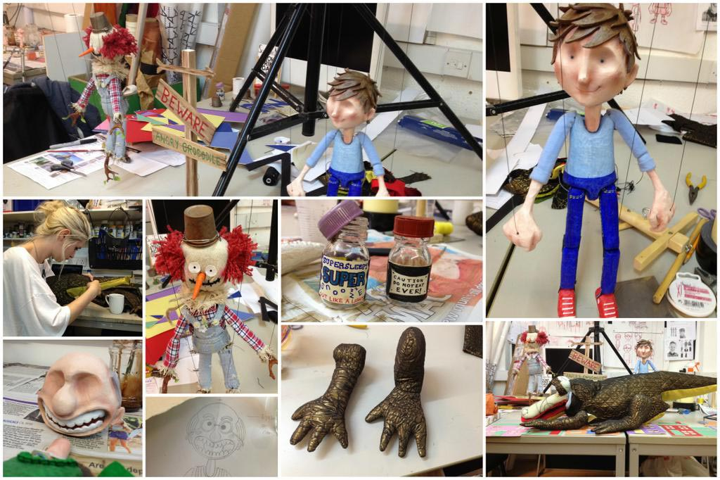 A montage of images of the model making for 'How To Trap A Crocodile'.