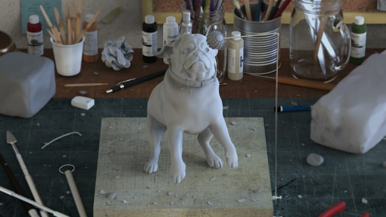 Photoreal CGI Pug 'Sculpted' In Clay
