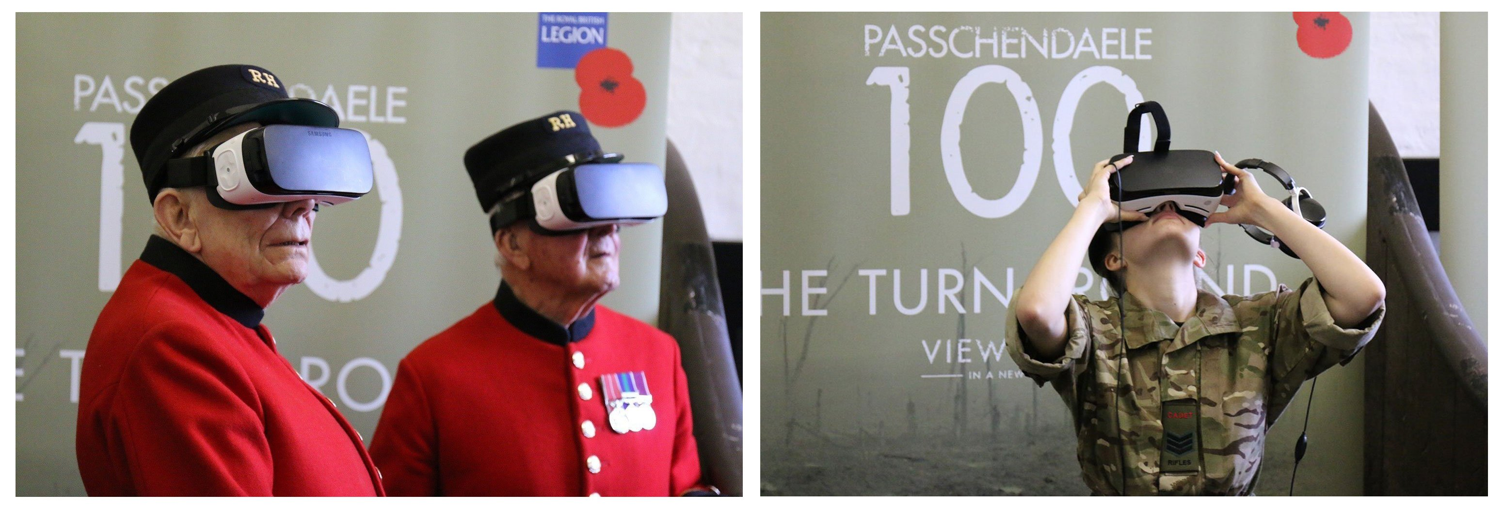Two images of people using virtual reality masks to view an immersive experience commemorating the Battle of Passchendaele