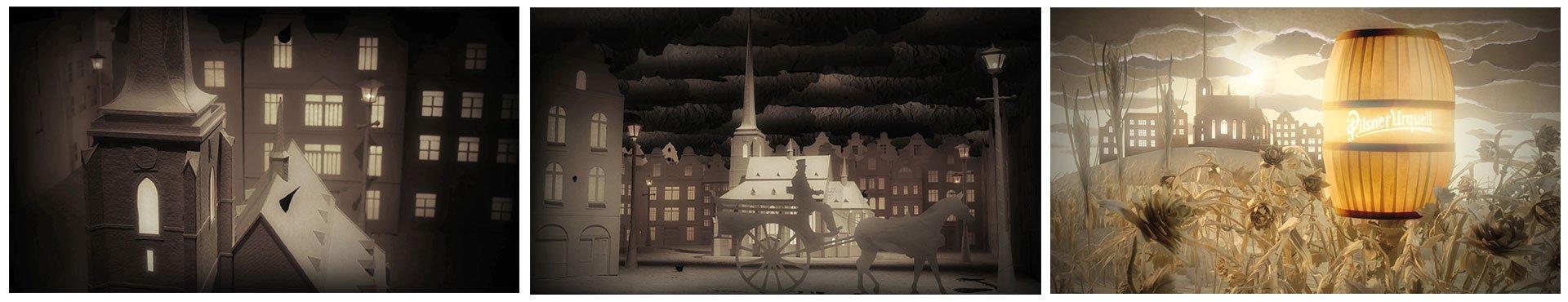 Three stills from the Pilsner Urquell stop motion animation
